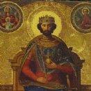 Heiliger Stephanus, der erste heilige König von Ungarn, gekrönt im Jahr 1000. Bild aus dem Apadensaal der königlichen Burg Buda. © Josef Sturm